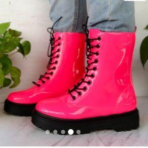 Neon Hot Pink Combat Boots
